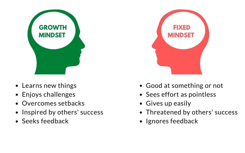 List of characteristics for fixed vs growth mindset