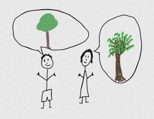 Terrible drawing of male and female stick figures imagining different trees
